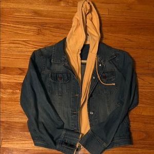 Rue 21 Jean jacket with attached sweatshirt